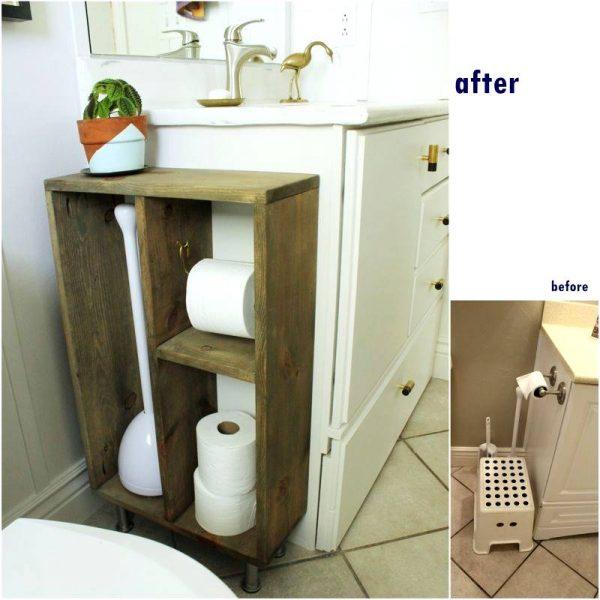 Toilet paper storage in bathroom