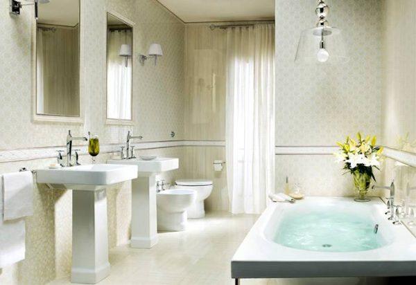 Traditional white tiled bathroom design