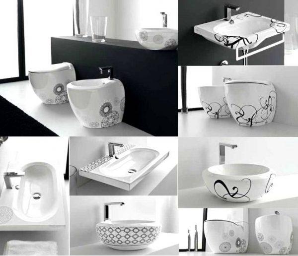 Unique patterned bathroom suite