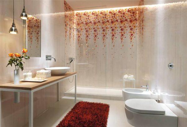 White floral bathroom tile design