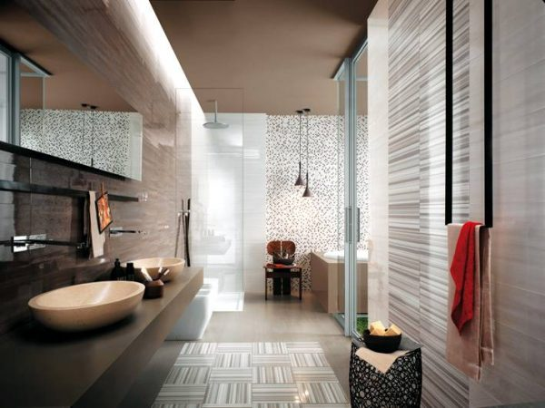 White gray stripe bathroom tiles