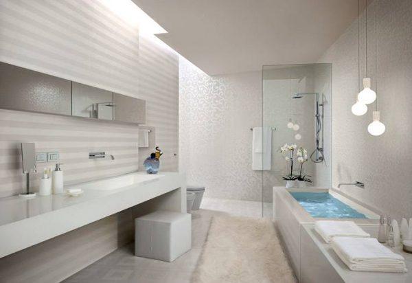 White stripe bathroom tiles