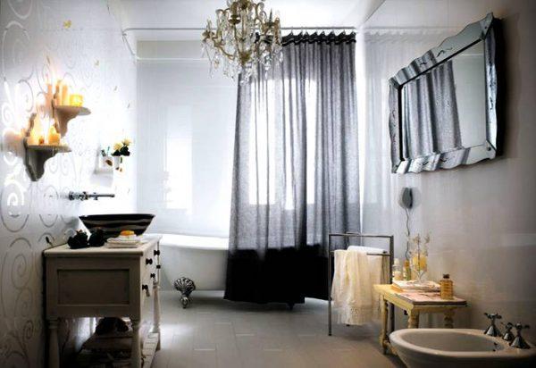 White swirl bathroom tile design