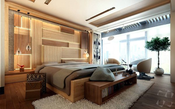 accent wall with integrated light in the bedroom