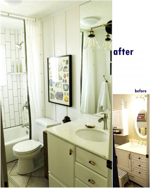 Bathroom mirror before and after