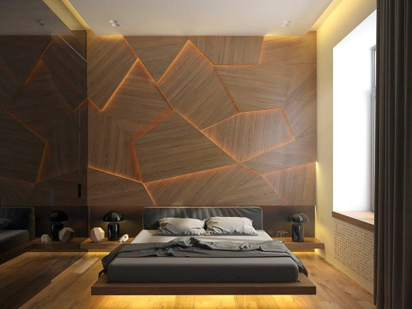 bedroom accent wall with unique lighting