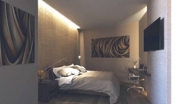 bedroom lighting on textured walls
