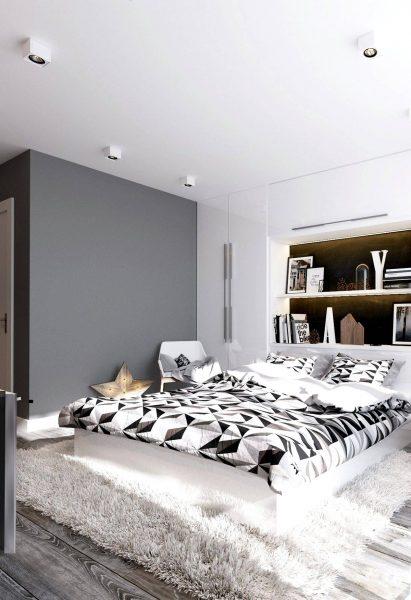 bedroom with typographic decor