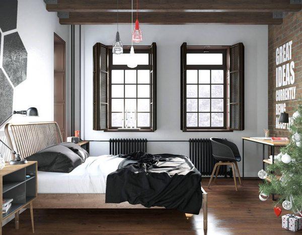 brick and typography bedroom theme