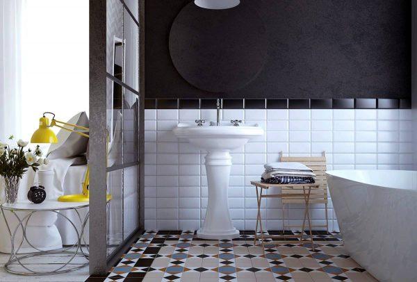 chic bathroom geometry