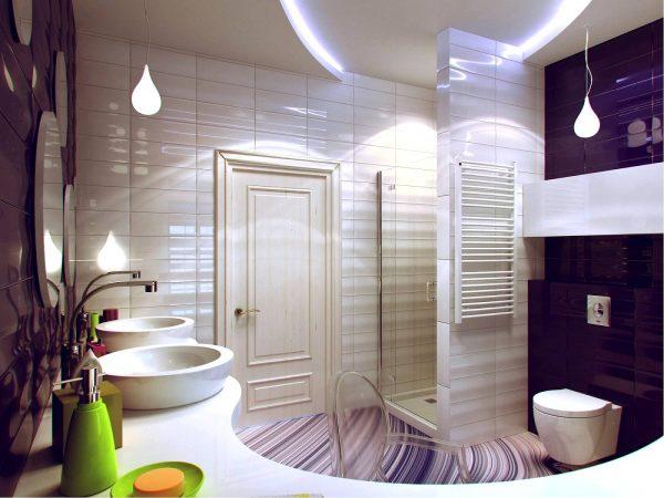 Purple white bathroom design