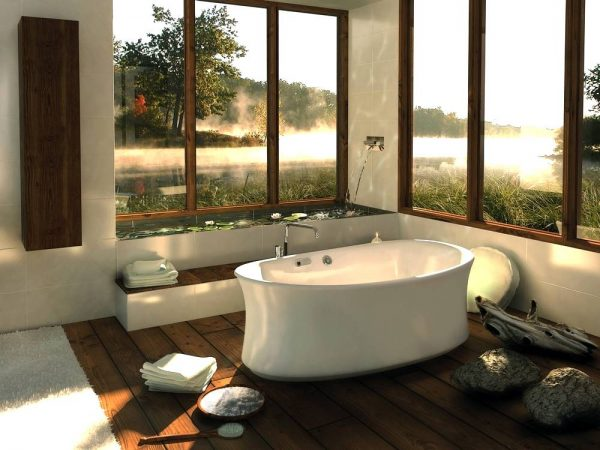 Central freestading bathtub