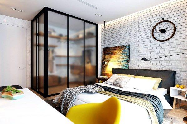 bedroom brick walls