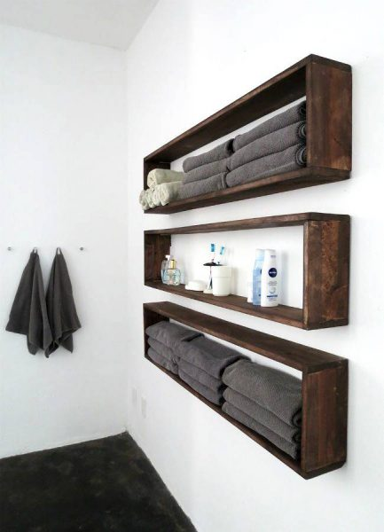 Rectangular wall shelves for bathroom
