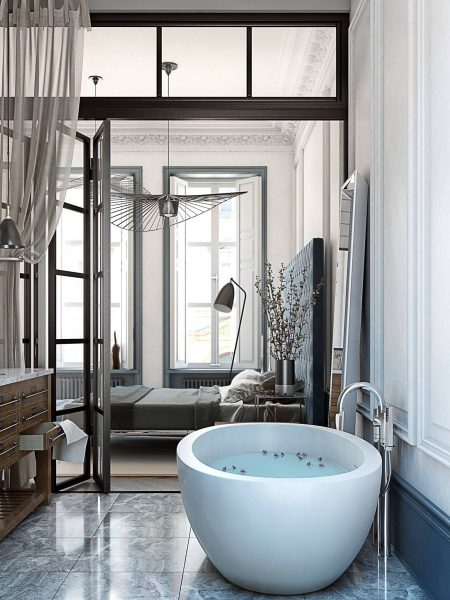 gorgeous bedroom bathtub