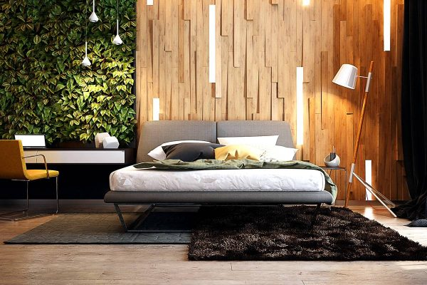 headboard wall with wood and integrated lighting