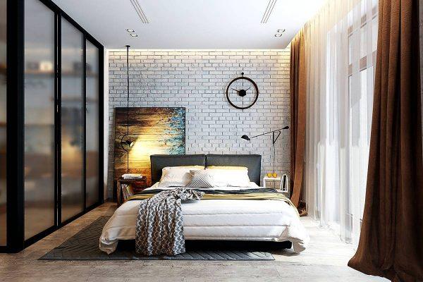 chic bedroom brick walls