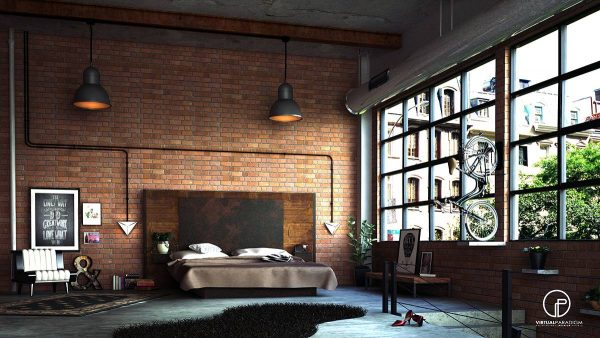 industrial brick wall bedroom