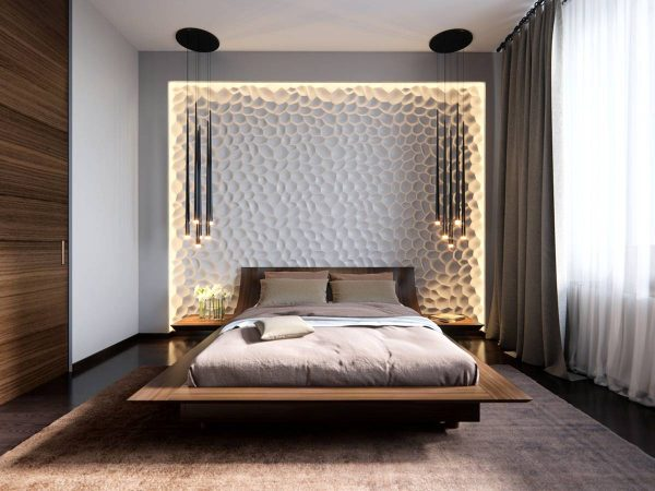 lighting and textural accent walls