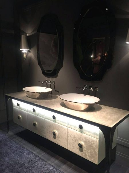 Luxury bathroom vanity with black mirrors