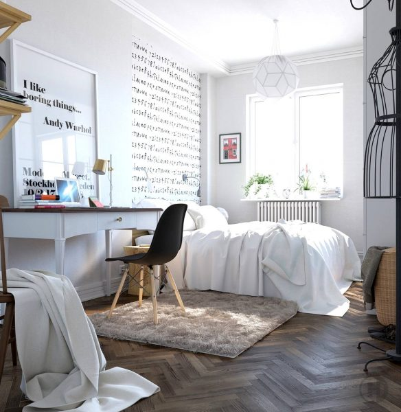 modernist scandinavian bedroom design