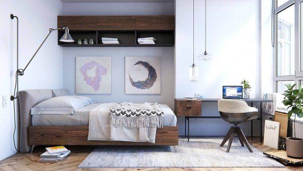 pastel scandinavian bedroom design