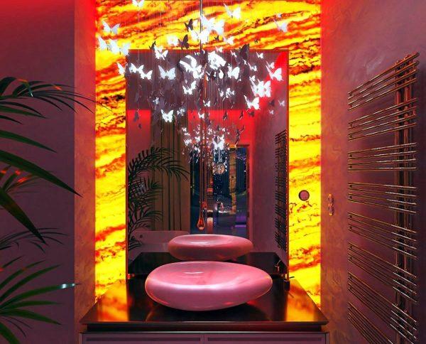 red lava bathroom