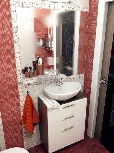 Red white bathroom tiles