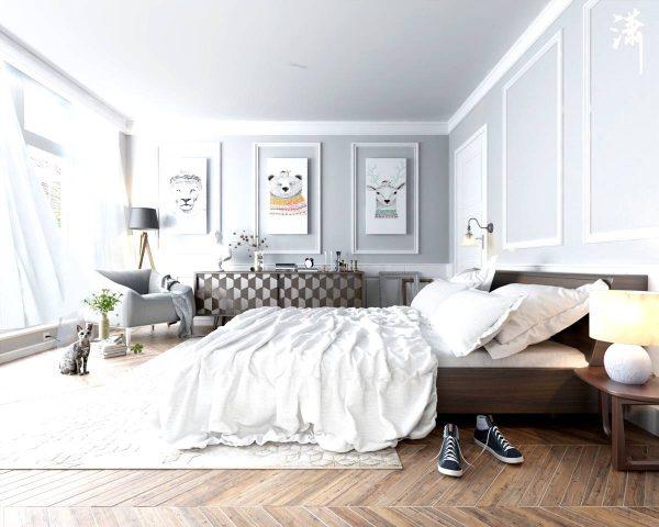 scandinavian bedroom with classic elements