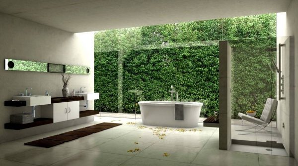 White modern bathroom design