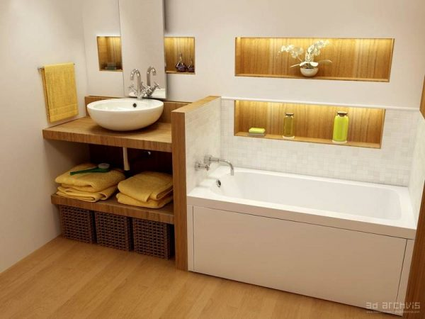 white yellow oak fitted bathroom