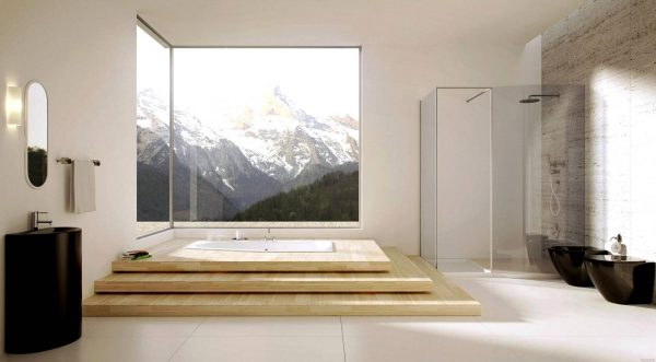 Modern bathroom with large windows